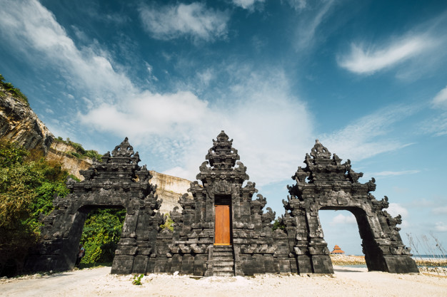 Bali Temple gate entrance at beach, Indonesia